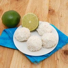 Lime glazed coconut snowballs- could be egg shaped and color the coconut for Easter