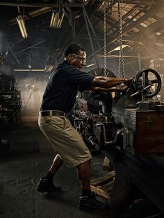 Photographs created for Wrangler Workwear and Twoxfour that celebrate the heroism of tradesmen, machinists, carpenters, plumbers and workmen of all stripes.