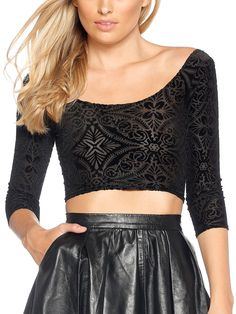 Burned Velvet 3/4 Sleeve Crop - LIMITED (AU $50AUD / US $35USD) by Black Milk Clothing
