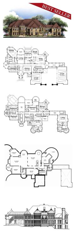 Victorian Style COOL House Plan ID: chp-25105 | Total Living Area: 7618 sq. ft., 6 bedrooms & 8.5 bathrooms. #houseplan #victorianstyle
