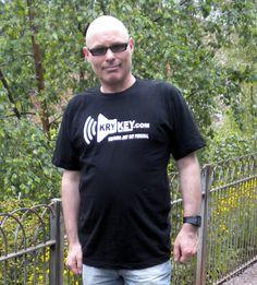 Marc Willis in Macclesfield, Cheshire, UK wearing the new black KryKey t-shirt we sent him - Music Hut Radio 1