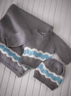 Cute blanket, sweater, and hat set for a new baby. Chevron stripes and knit in easy-care Valley Yarns Haydenville.