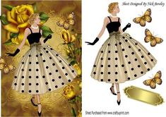 Elegant lady with pretty gold roses and butterflies on Craftsuprint - Add To Basket!