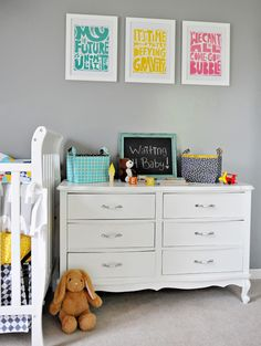shared modern nursery. This is my child's finished room. Click link to see entire room details.