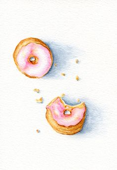 Small Pink Doughnuts - ORIGINAL Painting (Still Life, Kitchen Wall Art, Watercolour Food Illustration) A5