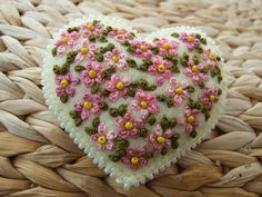 Heart Shaped Pin  with Dusky Pink Flowers ♥ by sweetheartsandroses, $16.00
