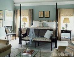 Slate blue walls with dark furniture for master bedroom.