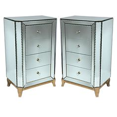 Deco pair of 4 draw chests  france  1930s  A fabulous pair of french Deco 4 draw chests with scallop bevel edges, metal and mirror pulls on a maple base