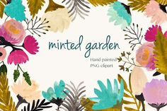 handpainted garden flowers Graphics inspired by a hint of mint, this collection is perfect for invitations, banners, newsletters and st by cherylwarrick