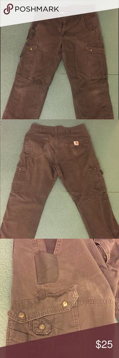 Carhartt Cargo Work Pants Sits slightly below waist; relaxed seat and thigh Gusseted crotch for increased ease of movement Double-layer knees for added reinforcement Clean-out bottoms can accommodate knee pads Multiple pockets for stashing all your gearThe Cotton Ripstop Cargo Pant features a shank button waist closure with belt loops and zippered fly; Carstrong-lined front ledge pockets; spacious cargo pockets with snap-closed flaps; reinforced rear patch pockets; and multiple utility…