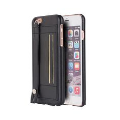 Apple Iphone 6 / 6S Plus Leather Case With Card Slot & Hand Strap #PH-TIIP6SL-STRP-BK