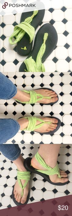 Sanuk's Yoga Slings The perfect funky spring sandal! Yoga slings are made from recycled yoga mats, making them the most comfortable, supportive sandals ever. The upper material is made of soft, breathable cotton. Say yes to comfort this season- and zesty lime green!  Sandals are lightly worn, mostly in buildings. Tried to make them work, but not quite my size! Sanuk Shoes Sandals