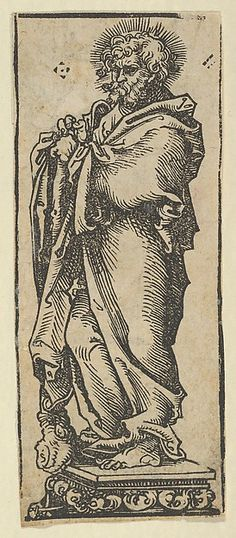 Silver Statuette of St. Jude, from the Wittenberg Reliquaries Series/Portfolio: Wittenberg Reliquaries; Hortulus Animae Artist: Lucas Cranach the Elder (German, Kronach 1472–1553 Weimar) Medium: Woodcut