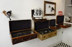 old suitcases - would look AMAZING as jewelry display in a shop! (or small items in dad's shop)