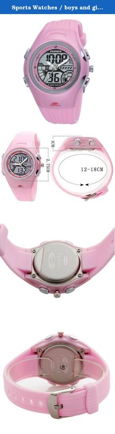 Sports Watches / boys and girls watch / waterproof watch / wristwatch Middle School-pink. Watches Mirror Material: mineral glass mirror Movement Type: Electronic Watch Type: Children Style: Sports Strap Material: Rubber Shape: Round Display : double explicit waterproof depth: 30 meters life waterproof additional features: 24 hours indicates GMT when the two chronograph alarm calendar luminous table debit formula: buckle bottom of the table type : Normal crown type: Normal dial thickness:...