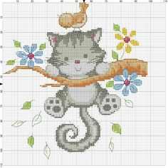 Hang in there bimbe con le ali ricamo a punto croce, pun Cross Stitch For Kids, Cute Cross Stitch, Cross Stitch Bird, Cross Stitch Animals, Cross Stitch Charts, Cross Stitch Designs, Cross Stitch Patterns, Cat Cross Stitches, Cross Stitching