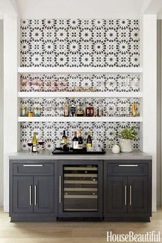 Gray Kitchen Bar With Tile Backsplash
