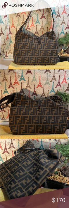 Authentic Fendi FF Monogram Hobo Bag The canvas is good condition. The leather strap showed wearing. Inside is nice and clean. The bag was made in Italy, serial number ignored ( pic 7) . Dust bag included. The dimension 11, 6.5 and 1.5 Fendi Bags Hobos