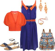 Western Blues & Oranges, created by heather-rolin on Polyvore
