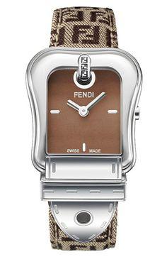 Fendi 'B. Fendi' Zucchino Strap Watch
