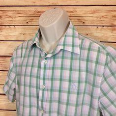 ⭐original Penguin Munsingwear Mens Plaid Short Sleeve Button Shirt Classic Fit L | eBay