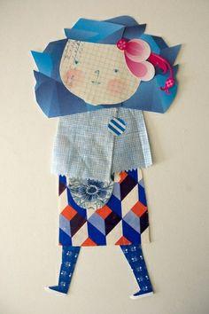 Trabajo en papel. Paper collage doll craft