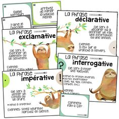 Types of sentences - 4 posters and task cards, EDUCATİON, Types of sentences - 4 posters and task cards. French For Beginners, Types Of Sentences, Core French, 4th Grade Math, Grade 3, School Plan, French Classroom, French Resources, French Immersion