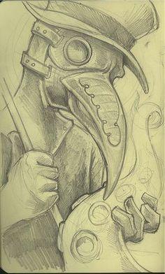 Creepy Drawings, Dark Art Drawings, Art Drawings Sketches, Cool Drawings, Doctor Drawing, Graffiti Drawing, Creepy Art, Dark Fantasy Art, Art Reference Poses