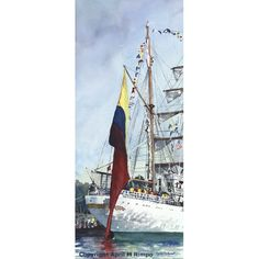 "Original watercolor is 23"" X 10"". Available unframed or framed in a 29"" X 16"" brushed silver frame. Tall ship Gloria from Colombia.    Shipping included.    Copyright April M Rimpo All Rights Reserved. You may share my work with attribution and a link to this source site, but all other uses are prohibited.     