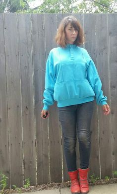 dc148ac246 Vintage 1980s Vancouver Canada Sky Blue Sweatshirt with Kangaroo Pocket  Retrofuture Aqua Sweater