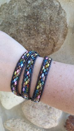 Handmade Adjustable Antiqued Gray Triple Leather Wrap Bracelet with Cobblestone Colorfully Mixed Picasso, Translucent, and Magic Super Duos