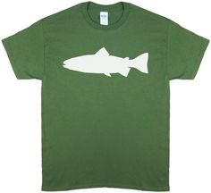 Trout Profile, Fly Fishing, Olive Green Short Sleeve T-shirt