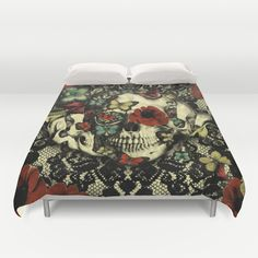 Vintage Gothic Lace Skull Duvet Cover by Kristy Patterson Design - $99.00