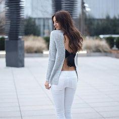 gray cardican clack innerwear white pants