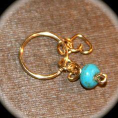 Cartilage Earring Hoop Earrings Turquoise & by BirchBarkDesign