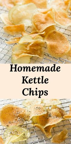 Kettle Chips Recipe - thick and crispy homemade potato chips are easy to make and taste so much better than store-bought chips! Stop being limited by flavor choices. Season your kettle chips your way! Potato Chips Homemade, Fried Potato Chips, Potato Crisps, Air Fryer Potato Chips, Kettle Chips, Kettle Cooked Chips, Potato Chip Flavors, Potato Recipes, Oreo Dessert