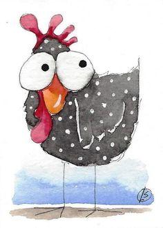 ACEO Original watercolor painting whimsical farm bird peculiar chicken #IllustrationArt