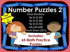 Number Puzzles (Skip Counting: By 2s, 3s, 5s, 10s, & Count Down from 10-1) #Commoncore #Math #Kindergarten #Teacherspayteachers #Puzzles
