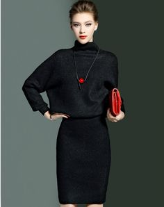 #AdoreWe #VIPme Co-Ords - CYANINE SEA Black Batwing Sweater Bodycon Skirt Two Piece Set - AdoreWe.com