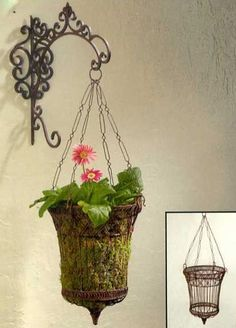french hanging plants | ... and Optional French Wire Hanging Basket Antique Brown Hanging Planters