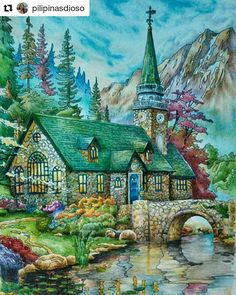 Paisagem lindaaaa #Repost @pilipinasdioso with @repostapp I admit, I am a landscapes lover ever since. And it's a thrill that I have this book. Image from Posh Coloring Book By Thomas Kinkade Medium used:  Colored Pencils #colouring  #poshcoloringbook  #doverpublications  #adultcoloring #coloringmasterpiece #inktense  #colouringforgrownups  #fabercastell #thomaskinkade #coloringbooksforgrownups #zackinkade #desenhoscolorir #artecomoterapia