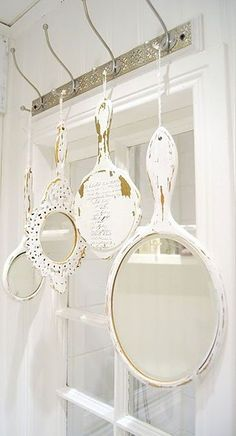LOVE this idea--Hanging mirrors from a rack above a window, bathroom mirror, doorway, etc. | #dishfunctionaldesigns