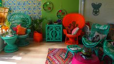Our Lady Peacock in Tangerine & Classic Peacock Chair in Aqua!  Jade Slouch Chair.
