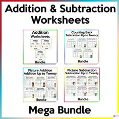Help your students master the skill of adding and subtracting numbers up to 20 with our different variety of addition and subtraction worksheets.A. Addition WorksheetsUtilize these worksheets to reinforce:* Two-digit by one digit addition* Two-digit by two-digit addition* Three- digit by one digit a... School Resources, Classroom Resources, Math Resources, Classroom Organization, Classroom Management, Addition And Subtraction Worksheets, Adding And Subtracting, My Teacher, Distance