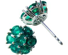 Genuine emerald cluster earrings