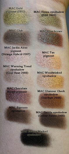 Massive amounts of MAC e/s swatches from a fantastic blog called - check request forms