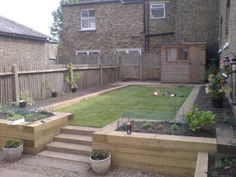 Railway sleeper steps into retaining wall garden projects Railway Sleepers Garden Retaining Wall, Landscaping Retaining Walls, Sloped Garden, Backyard Landscaping, Sleeper Retaining Wall, Retaining Wall Steps, Landscaping Ideas, Back Garden Design, Backyard Garden Design