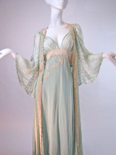 Vintage 1930's Bridal Trousseau Silk Peignoir Set, Nightgown and Robe Channeling the Greek goddess Athena...