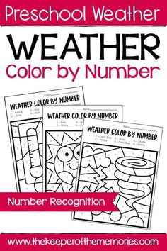 Color by Number Weather Preschool Worksheets are an excellent way to introduce weather concepts and practice number recognition with little kids! These no prep printable worksheets are great for both preschoolers and kindergartners. Get yours today! Preschool Monthly Themes, Preschool Colors, Preschool At Home, Preschool Printables, Preschool Worksheets, Preschool Math, Preschool Ideas, Weather Worksheets, Tracing Worksheets
