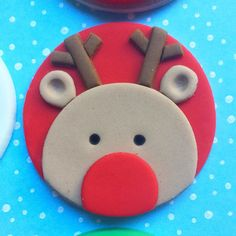 Items similar to 12 Rudolf fondant cupcake toppers – Christmas party – Christmas cupcake toppers – Reindeer cupcake toppers – Rudolf fondant toppers on Etsy - Cupcakes Christmas Cupcake Toppers, Reindeer Cupcakes, Christmas Cupcakes Decoration, Christmas Desserts, Christmas Treats, Christmas Baking, Christmas Cookies, Fondant Christmas Cake, Winter Cupcakes